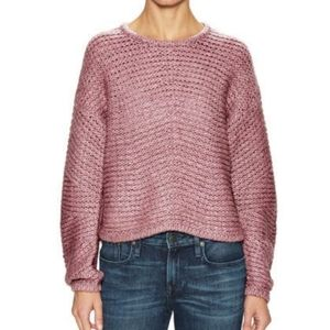 Helmut Lang Rind Wool Soft Grid Crop Sweater, sz P